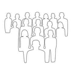 pepole crowd one line drawing vector image vector image