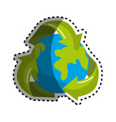 sticker earth planet inside of recycling symbol vector image