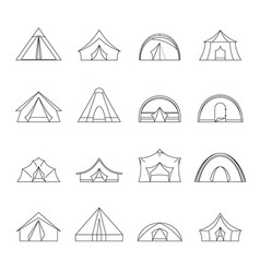 tent forms icons set outline style vector image