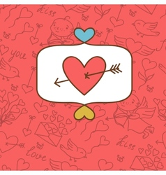Valentines day love postcard with hand drawn vector image vector image