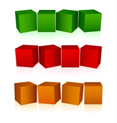 Abstract colorful cubes empty background vector