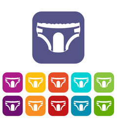 Adult diapers icons set vector