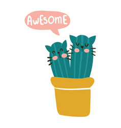 aesome cactus cats vector image