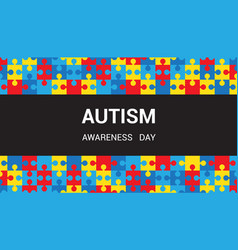 Autism awareness day puzzle pieces background vector