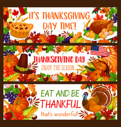 Autumn holiday banner set for thanksgiving design vector