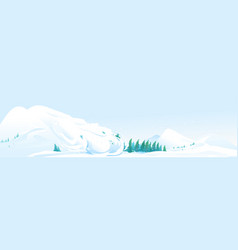 Avalanche in mountain landscape panorama vector