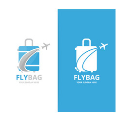 Bag and plane logo combination baggage vector