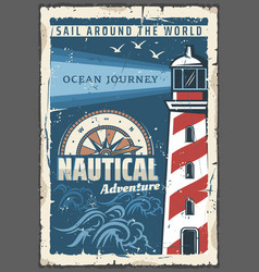 Beacon lighthouse nautical retro poster vector