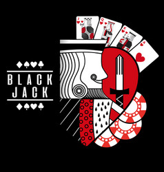 black jack heart king cards chip black background vector image