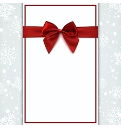 Blank greeting card with red bow vector