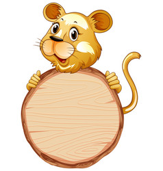 Board template with cute lion on white background vector