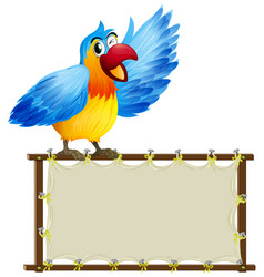 Board template with cute parrot on white vector