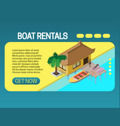 Boat rental banner concept web page header design vector