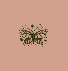 boho magical vintage butterfly minimal logo sketch vector image