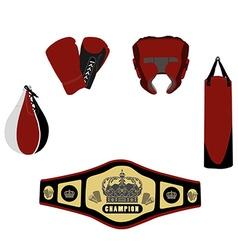 Boxing set five items vector