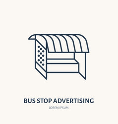 bus stop billboard flat line icon outdoor vector image