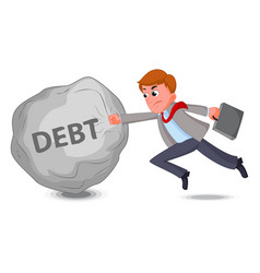 businessman fight with debt vector image