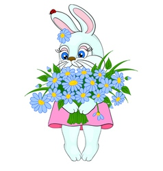 cartoon bunny with a big bouquet of flowers daisie vector image