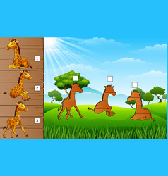 cartoon funny giraffe collection find the correct vector image