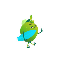 cartoon green apple party character vector image