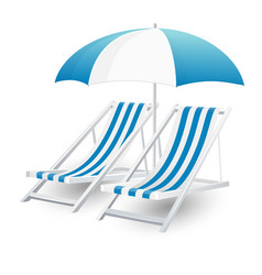 Chair and beach umbrella isolated vector