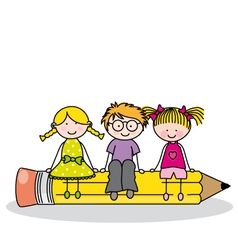 Children sitting on a pencil vector