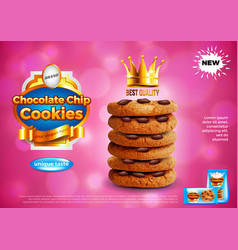 Chocolate chip cookies ads background vector