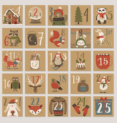 christmas advent calendar hand drawn style vector image