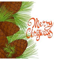 Christmas tree pine cones vector image