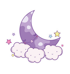 Clouds and moon cute cartoons vector
