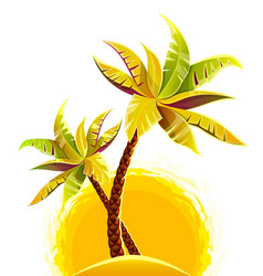 coconut palm trees on sand vector image