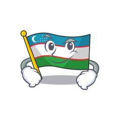 Cool flag uzbekistan scroll mascot character vector