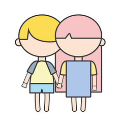 Couple children with hairstyle and pijama clothes vector