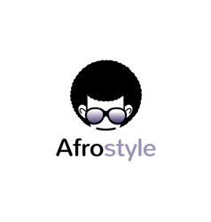 creative geek afro hairstyle logo vector image