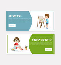 creativity center art school banner landing page vector image
