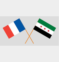 Crossed syrian national coalition and france flags vector