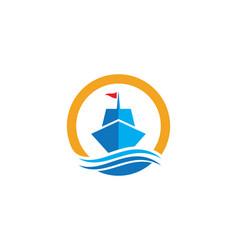 Cruise ship logo template icon vector