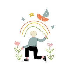 Cute blond boy drawing rainbow on wall with color vector