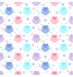 Cute blue light blue pink and violet owls with vector
