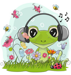 cute cartoon frog on a meadow vector image