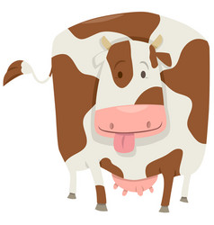cute spotted cow character vector image