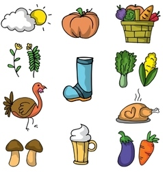 Doodle of vegetable thanksgiving set vector
