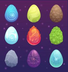 dragon eggs magic fantasy colored items for games vector image