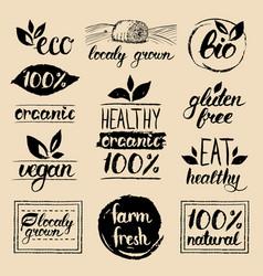 eco organicbio logos vegan natural food vector image