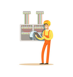 Electrician standing with documents checking vector