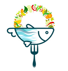 fish on a fork with vegetables vector image