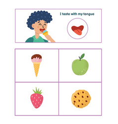 Five senses poster taste sense presentation page vector