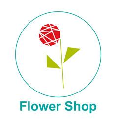 flower shop logo emblem sticker vector image