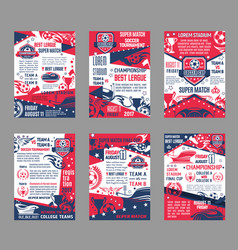Football league soccer championship posters vector