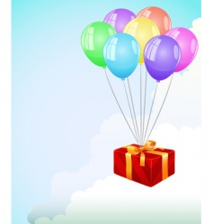 Giftbox and balloons vector